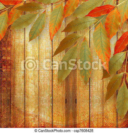 Bright autumn leaves on the wooden background - csp7608428
