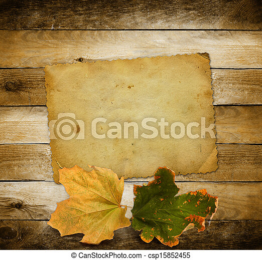 Bright autumn leaves on the wooden background  - csp15852455