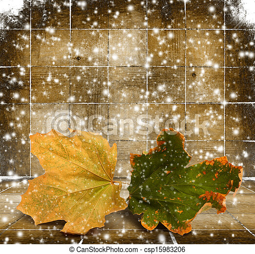 Bright autumn leaves on the wooden background  - csp15983206