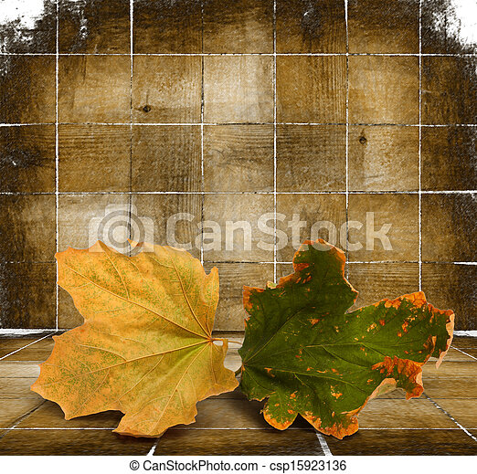 Bright autumn leaves on the wooden background  - csp15923136