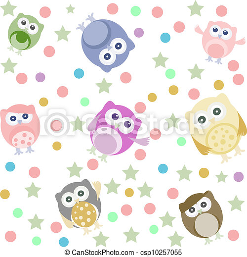 Bright background with cute owls, stars, circles. Seamless pattern - csp10257055