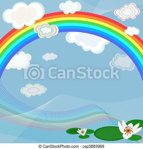 Bright background with rainbow - csp3883969