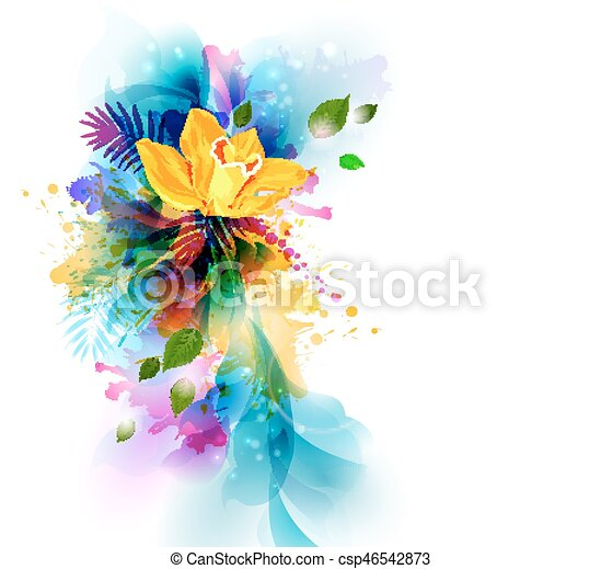 Bright background with yellow orchid flowers on the abstract bright background with yellow orchid flowers on the abstract blots csp46542873 mightylinksfo