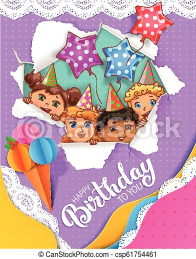 Bright birthday card with cute kids - csp61754461