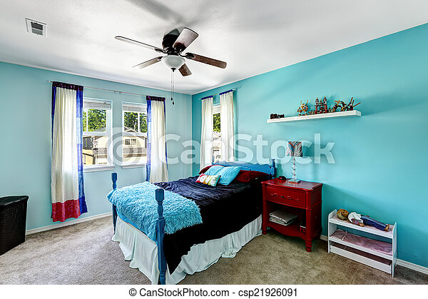 Bright Blue Girls Room Interior Room In Bright Blue Color With Red Wooden Nightstand Canstock
