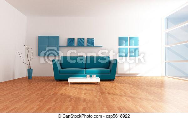bright blue modern  lounge - csp5618922