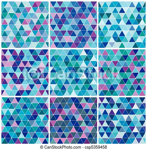 Bright blue winter triangle pattern set - csp5359458