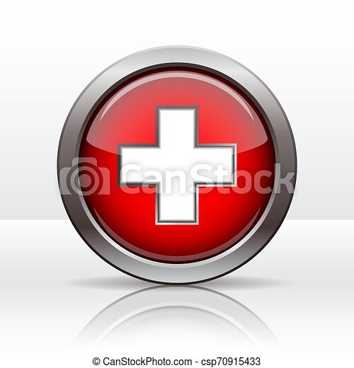 Bright button with flag of Swiss. Vector - csp70915433