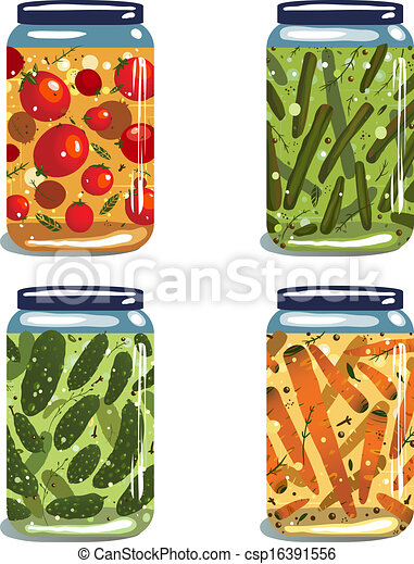 Bright Canned Pickled Vegetables Collection - csp16391556