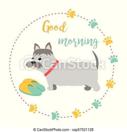 Bright card with terrier and text good morning - csp57521128