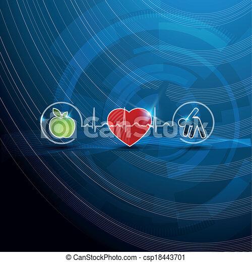 Bright cardiology symbols, healthy living concept - csp18443701