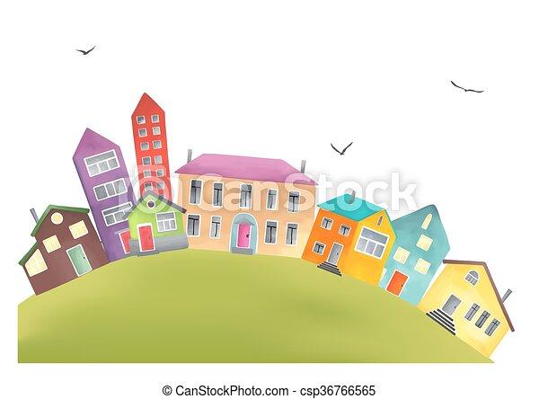 Bright cartoon houses on a hill  - csp36766565