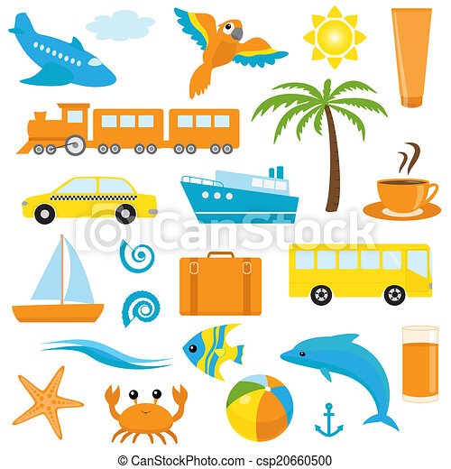 Bright cartoon travel icons - csp20660500