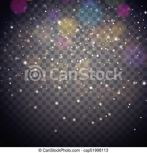 Bright Christmas Lights Illustration on a Dark Transparent Background. EPS 10 Vector Design - csp51998113
