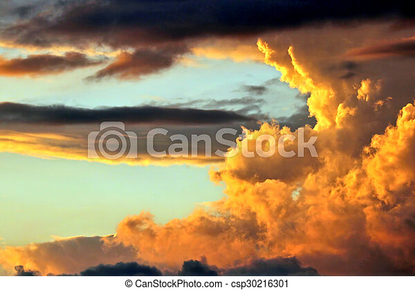 bright clouds in the sunset - csp30216301