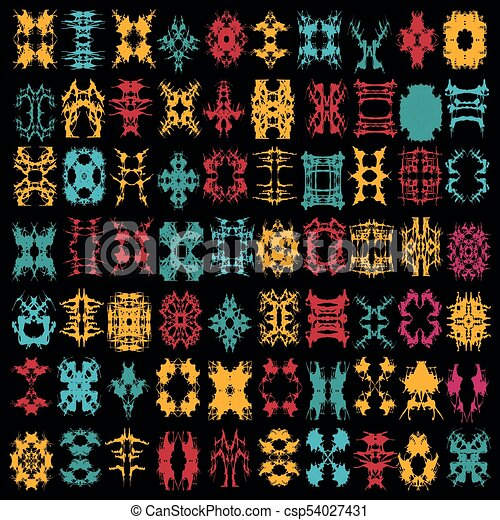 bright collection of colored abstract isolated symbols for your design - csp54027431