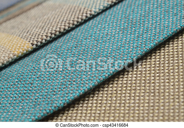 Bright collection of colorful gunny textile samples. Fabric texture background - csp43416684