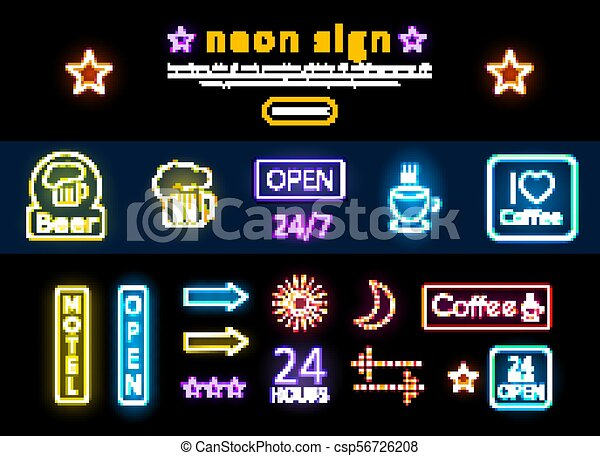 Bright Colorful Advertising Neon Signs Set - csp56726208