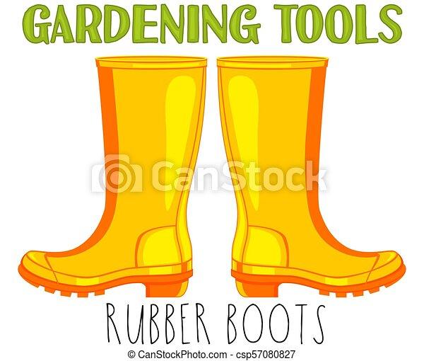 bright colorful cartoon rubber boots garden tool vector