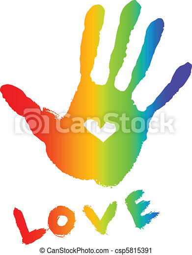 bright colorful handprint with heart - csp5815391