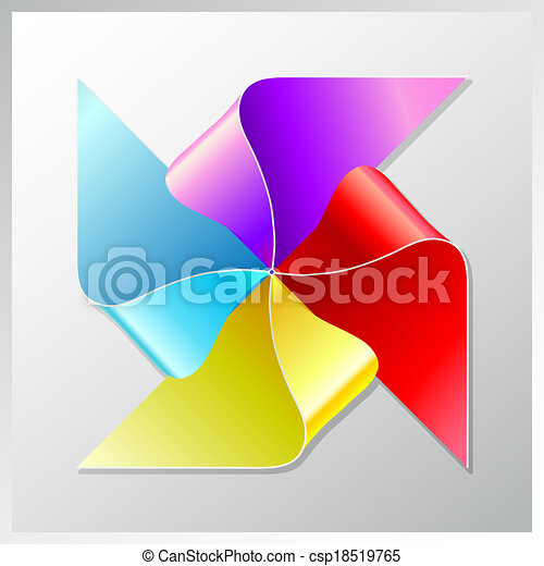 bright colorful recycle paper windmill, eps10 - csp18519765