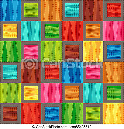 Bright Colorful Seamless Pattern of Blue, Brown, Green, Red, Pink, Turquoise, Yellow Simple Geometric Tetragonal Shapes. - csp85438612