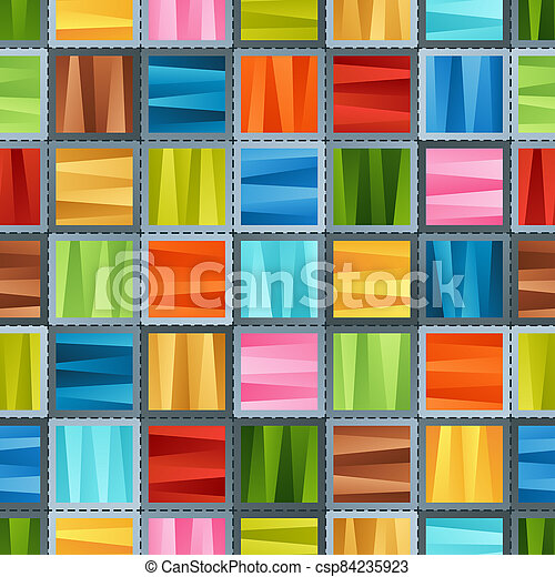 Bright Colorful Seamless Pattern of Striped Gradient Blue, Brown, Green, Red, Pink, Violet, Yellow Squares for Fabric, Textile, Tissue, Pack Paper, Wrapping Paper. - csp84235923