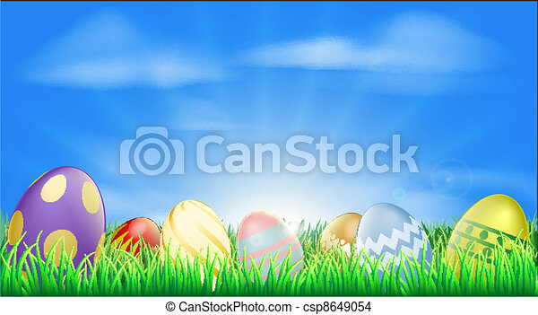 Bright Easter eggs background - csp8649054