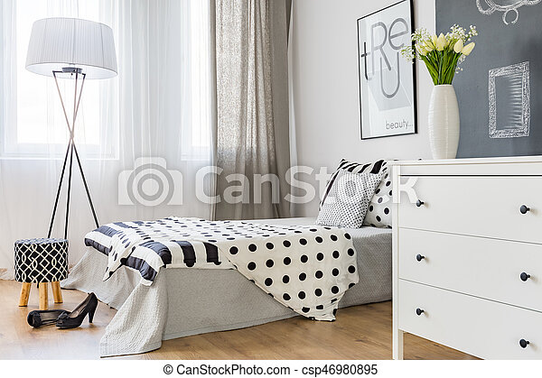 Bright Elegant Bedroom Of Modern Woman With Stylish Decor Canstock