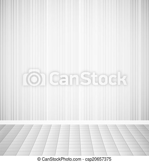 Bright empty room with striped wall and square floor interior - csp20657375