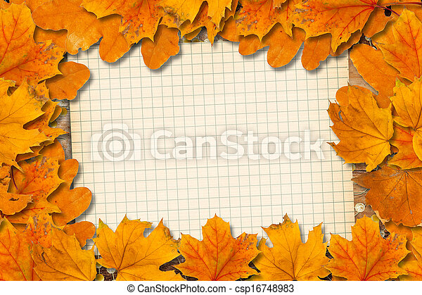Bright fallen autumn leaves on the old paper background - csp16748983