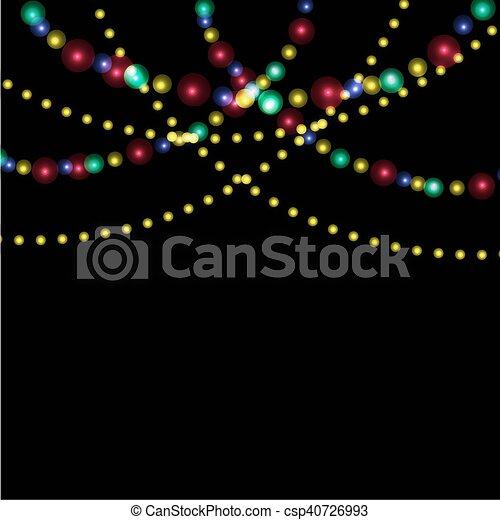 Bright festive lights against the backdrop of night illustration - csp40726993