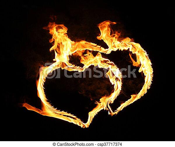 bright flamy symbol on the black background - csp37717374
