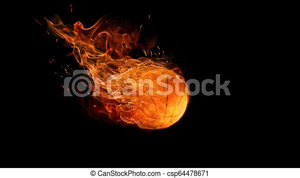 bright flamy symbol on the black background - csp64478671