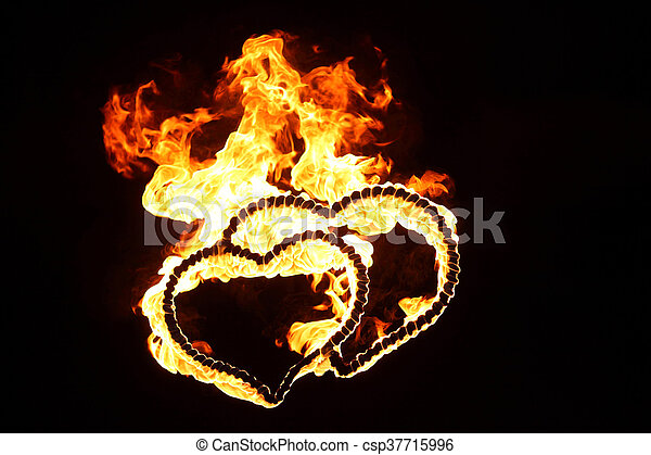 bright flamy symbol on the black background - csp37715996