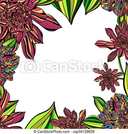 Bright Floral Tropical Frame - csp34129839