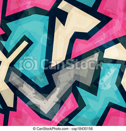 bright geometric seamless pattern with grunge effect - csp18430156