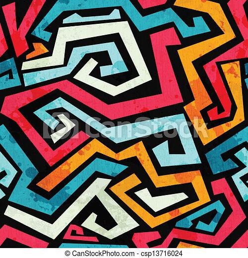 bright graffiti seamless pattern with grunge effect - csp13716024