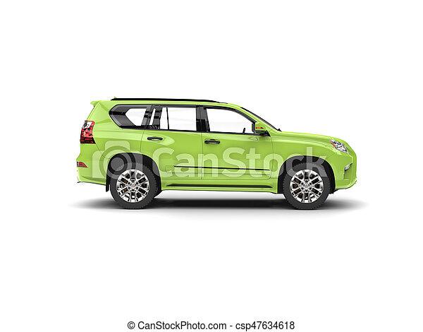 Bright green modern SUV - side view - csp47634618