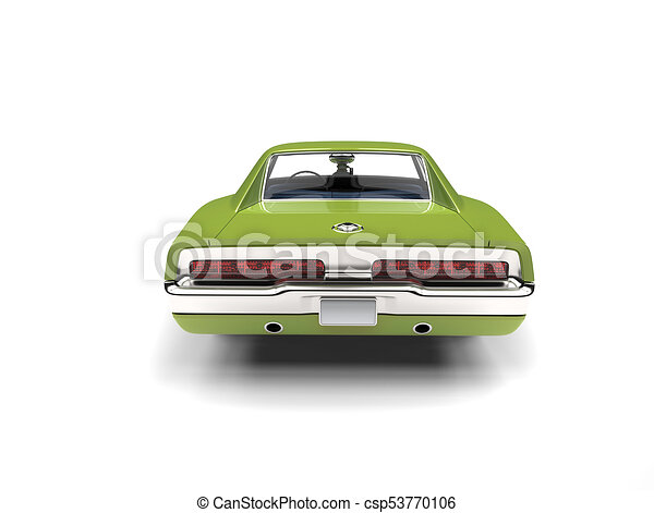 Bright Green Vintage American Muscle Car Back View