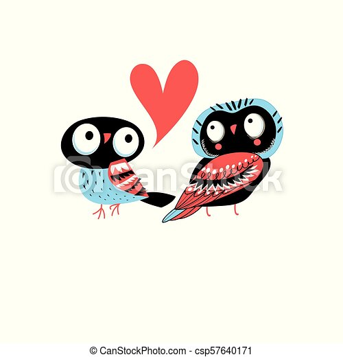 Bright greeting card with owls in love - csp57640171