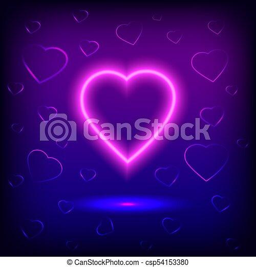 bright heart neon sign retro neon heart sign on purple background