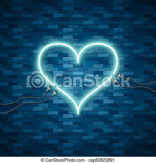 Bright Heart Retro Blue Neon Heart Sign