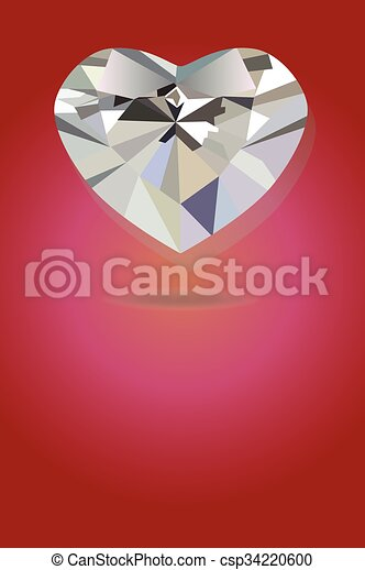 Bright heart silver geometric in red background - csp34220600