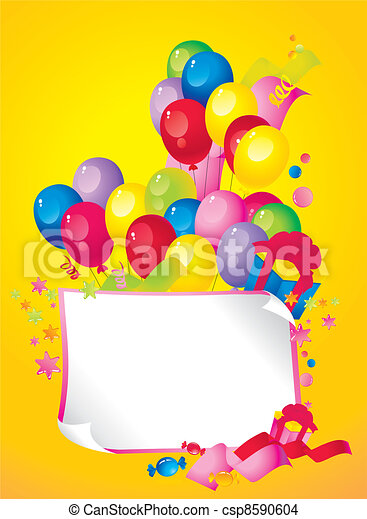 Bright Holiday composition of balloons - csp8590604