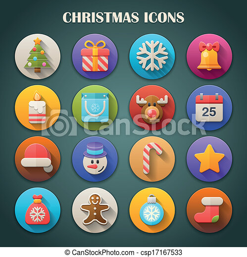 Bright Icons with Long Shadow 18 - csp17167533