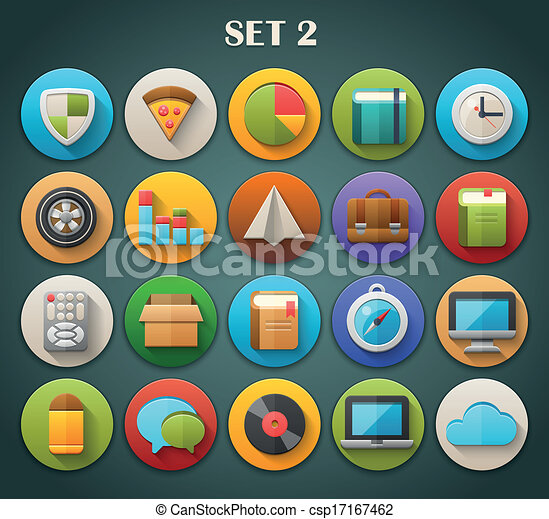 Bright Icons with Long Shadow 2 - csp17167462