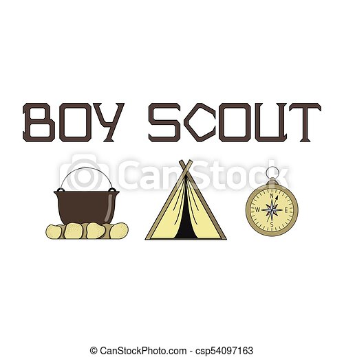 Bright illustration for boy scouts with a tent, a fire, and a compass. - csp54097163