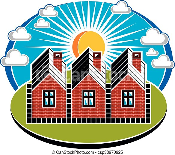 Bright Illustration Of Country Houses Constructed With Bricks Village Theme Vector Simple Homes On