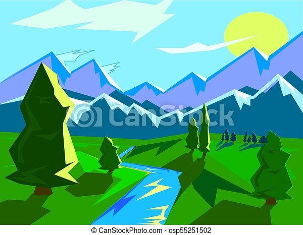 Bright Landscape Mountain View Landscape With Mountains On A